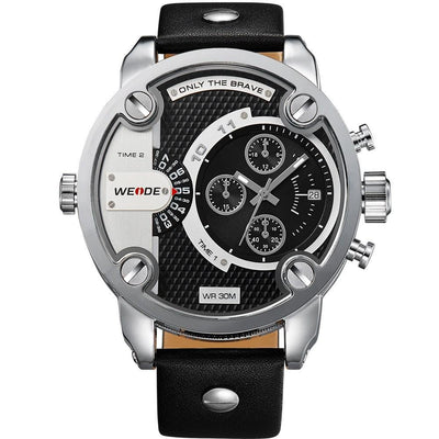 Watches - Weide Dual Analog Time Genuine Leather Strap Watch For Men -WH3301-1C-BLACK DIAL