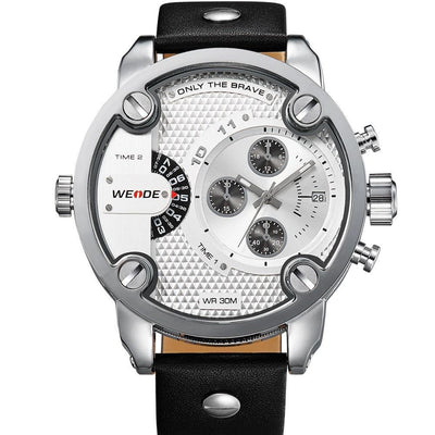 Watches - Weide Dual Analog Time Genuine Leather Strap Watch For Men - WH3301-2C-WHITE DIAL