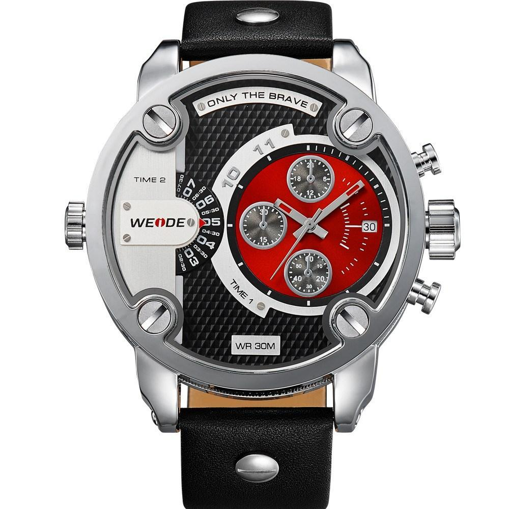 Watches - Weide Dual Analog Time Genuine Leather Strap Watch For Men - WH3301-3C-RED DIAL
