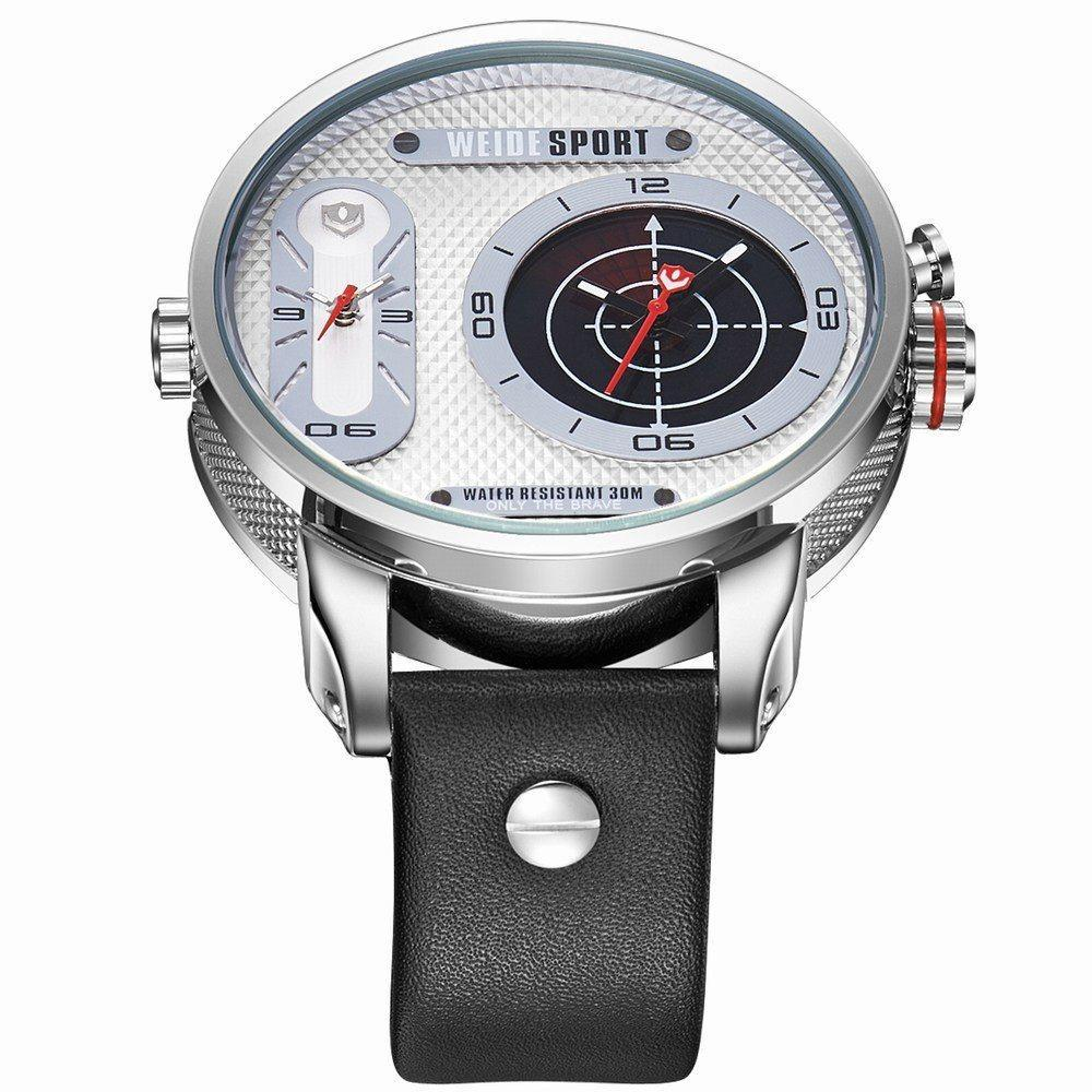 Watches - Weide Dual Analog Time Genuine Leather Strap Watch For Men - WH3409-2C-WHITE DIAL