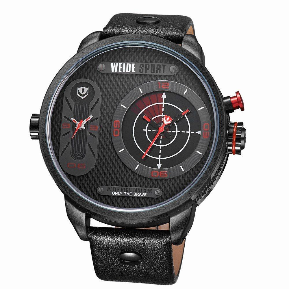 Watches - Weide Dual Analog Time Genuine Leather Strap Watch For Men - WH3409B-2C-RED INDEX