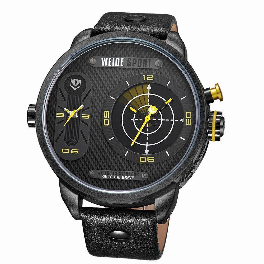Watches - Weide Dual Analog Time Genuine Leather Strap Watch For Men - WH3409B-3C-YELLOW INDEX