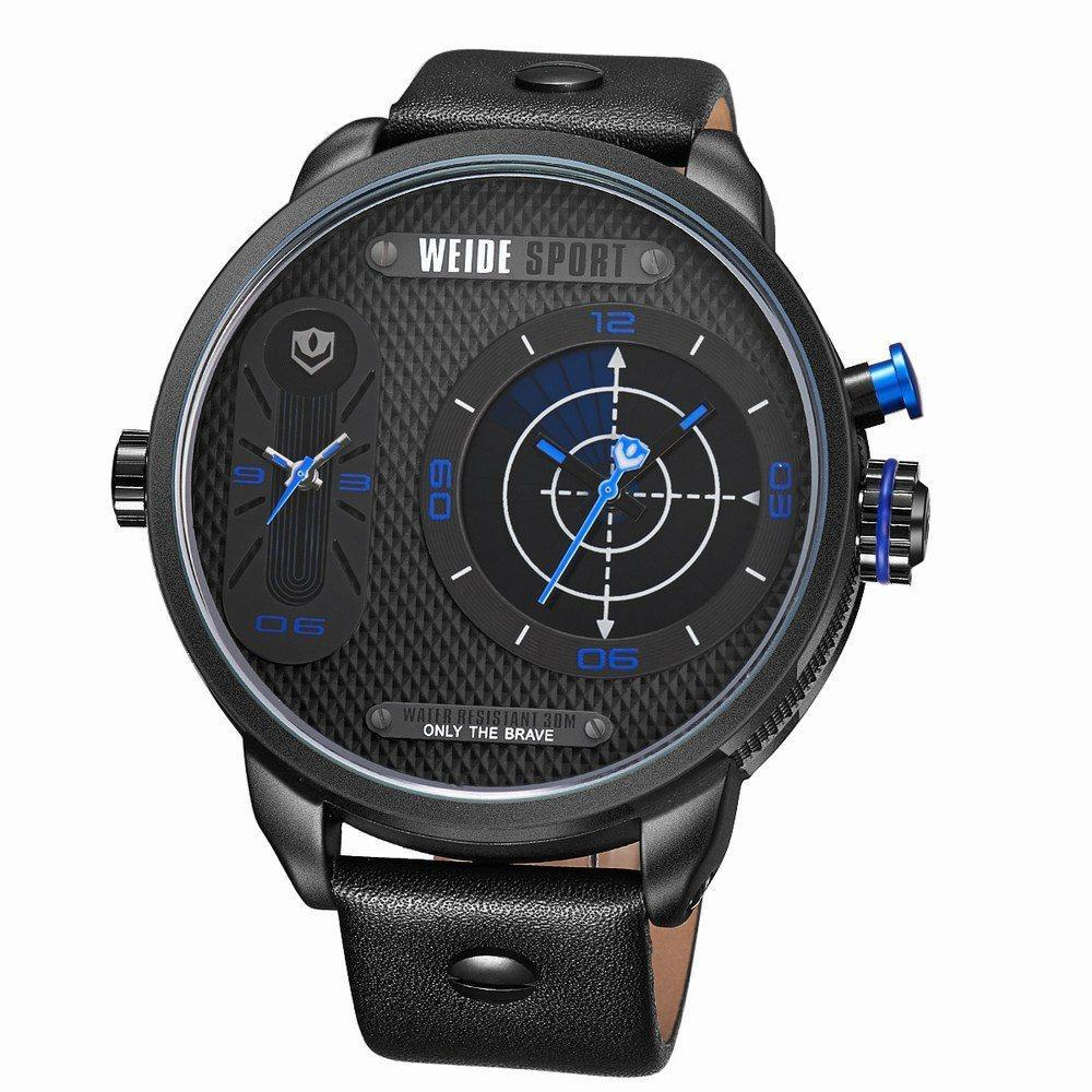 Watches - Weide Dual Analog Time Genuine Leather Strap Watch For Men - WH3409B-4C-BLUE INDEX