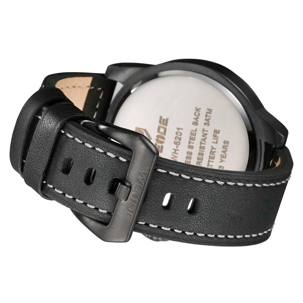 Watches - Weide Dual Analog Time Genuine Leather Strap Watch For Men - WH5201-1C-WHITE INDEX