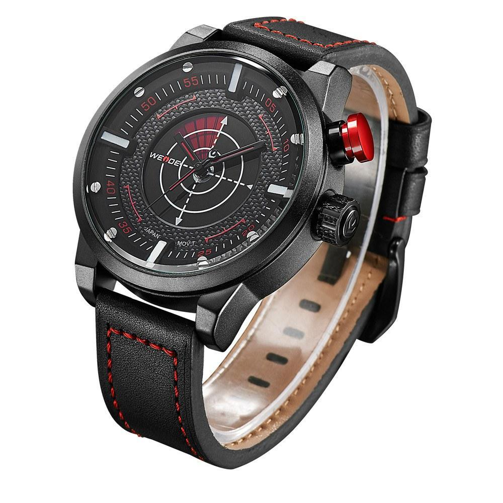 Watches - Weide Dual Analog Time Genuine Leather Strap Watch For Men - WH5201-2C-RED INDEX