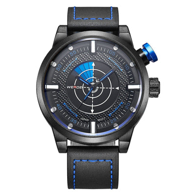 Watches - Weide Dual Analog Time Genuine Leather Strap Watch For Men - WH5201-3C-BLUE INDEX