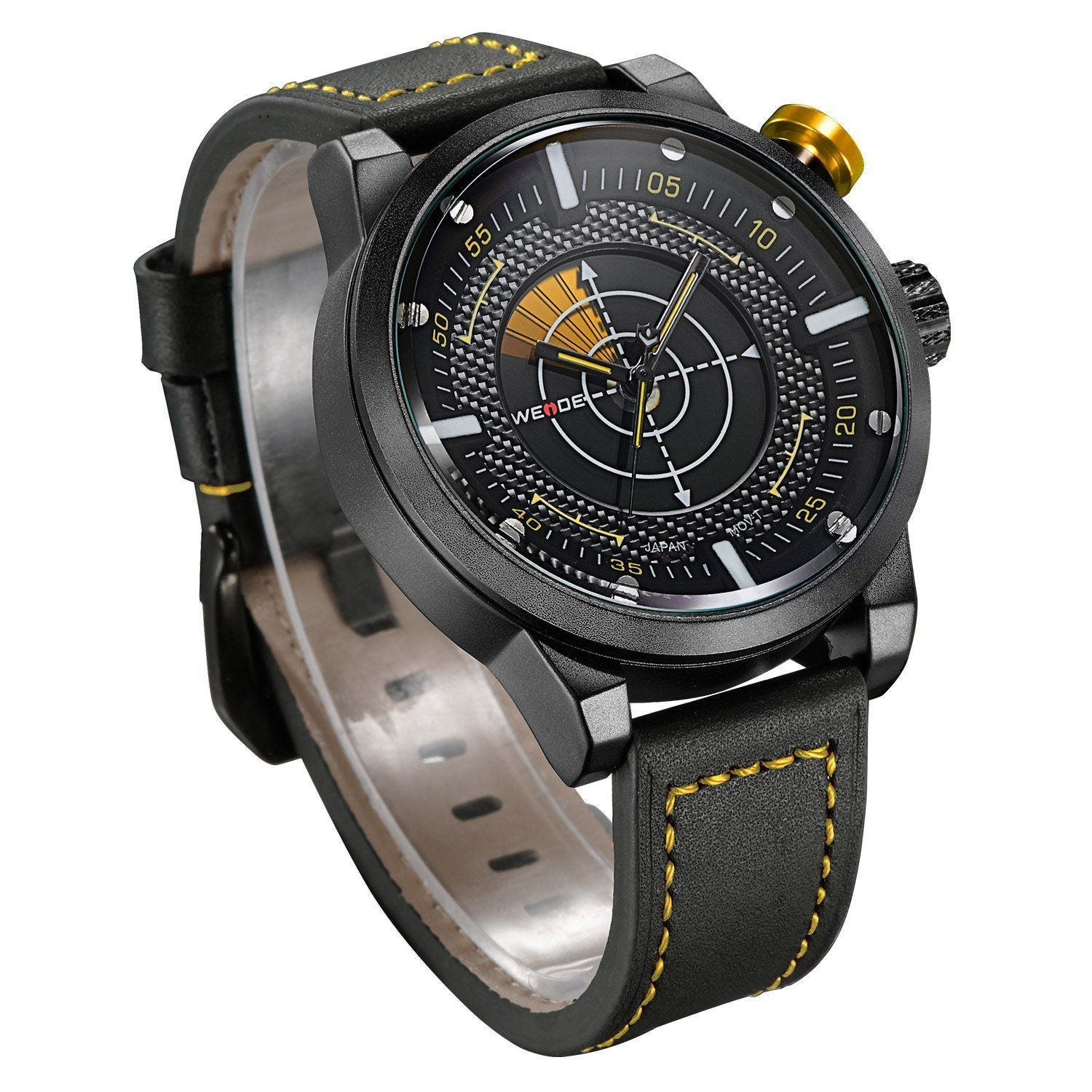 Watches - Weide Dual Analog Time Genuine Leather Strap Watch For Men - WH5201-4C-YELLOW INDEX