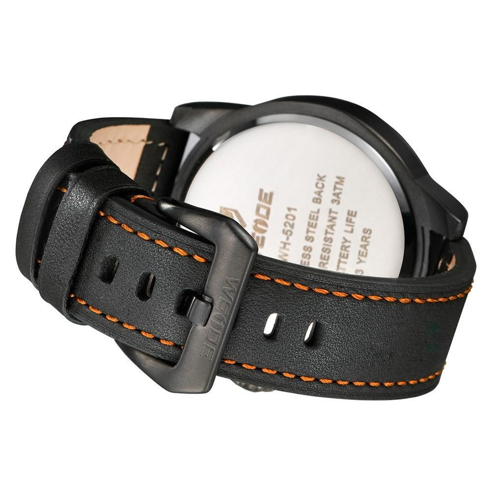 Watches - Weide Dual Analog Time Genuine Leather Strap Watch For Men - WH5201-5C-ORANGE INDEX