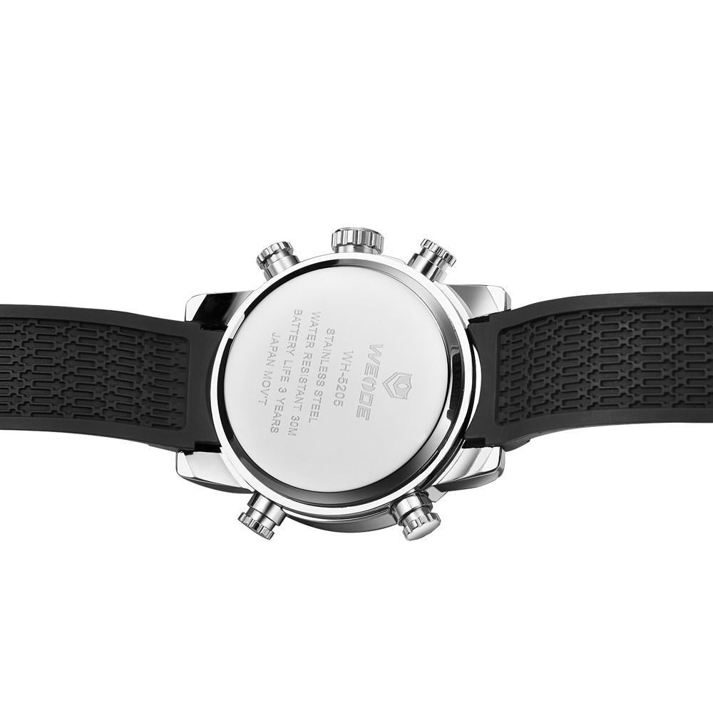 Watches - Weide  MEN BLACK PU BAND Strap Watch WH5205-8C-WHITE DIAL