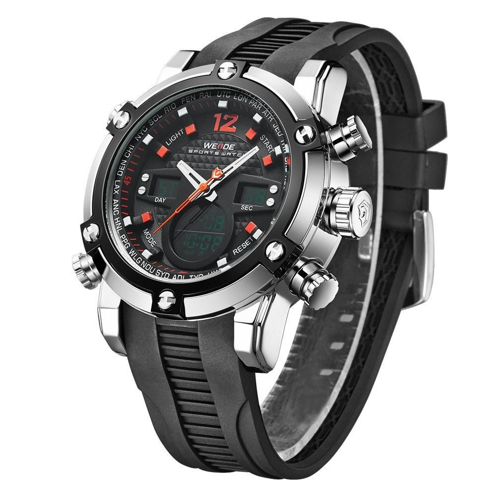 Watches - Weide  MEN BLACK PU BAND Strap Watch WH5205-9C-RED INDEX
