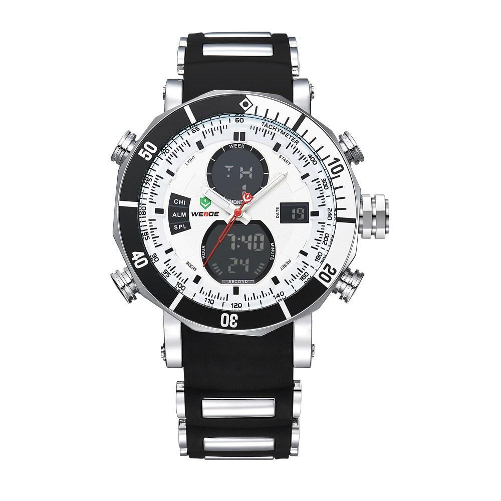 Watches - Weide  MEN BLACK SILICON BAND Strap Watch WH5203-8C-WHITE DIAL