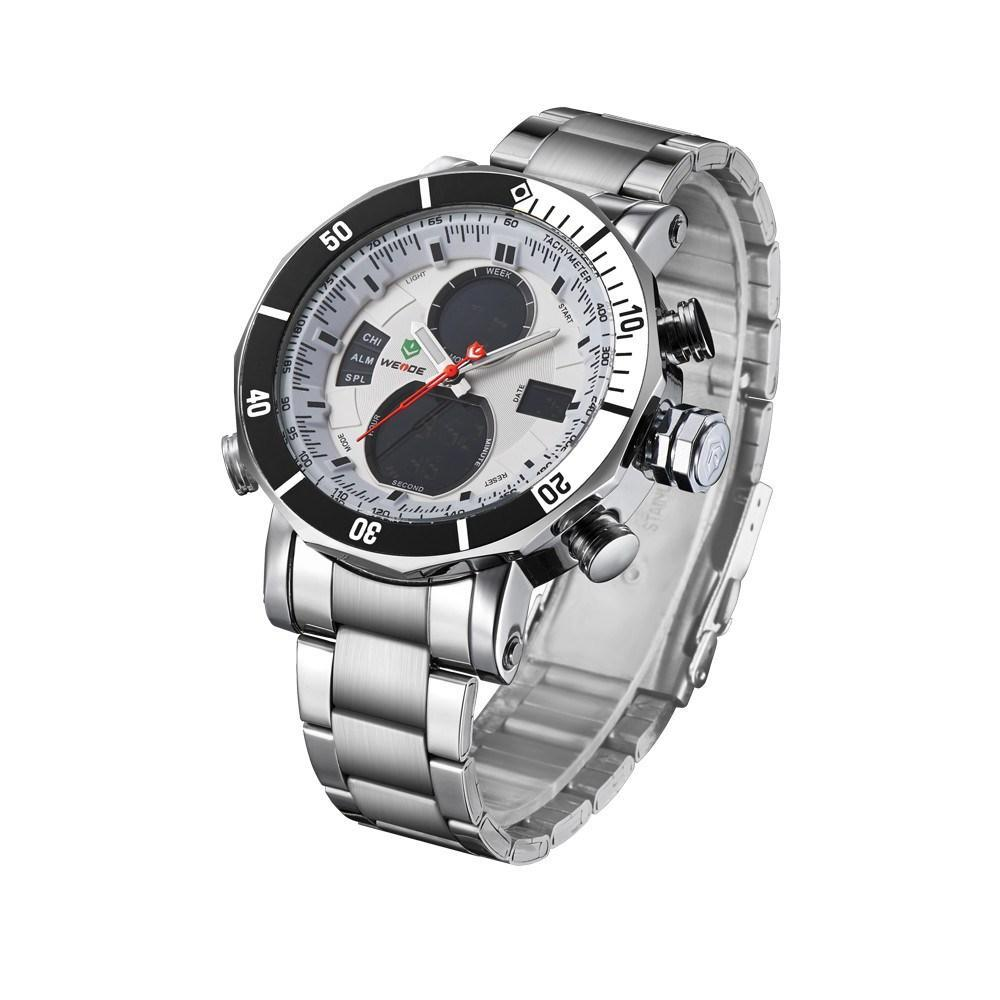 Watches - Weide  MEN SILVER STAINLESS STEEL BAND Strap Watch WH5203-2C-WHITE DIAL