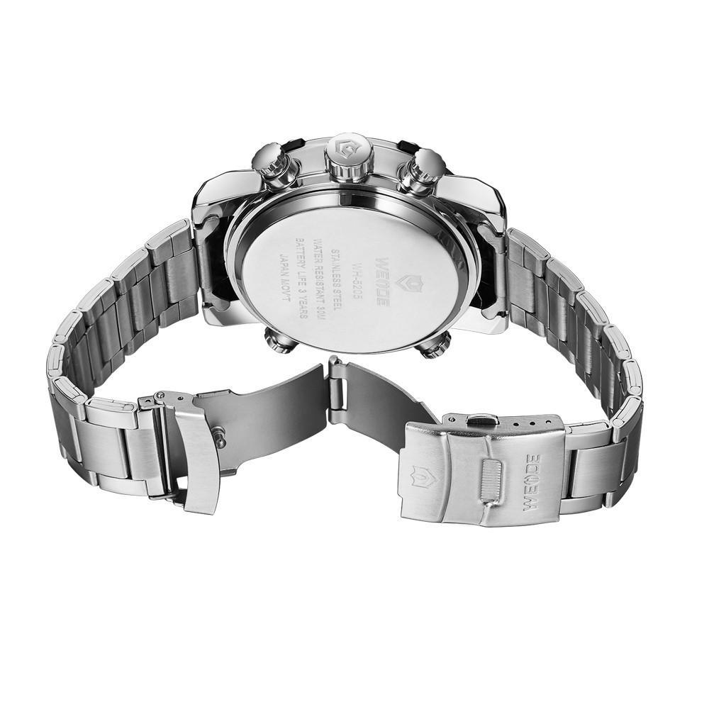 Watches - Weide  MEN SILVER STAINLESS STEEL BAND Strap Watch WH5205-2C-WHITE DIAL