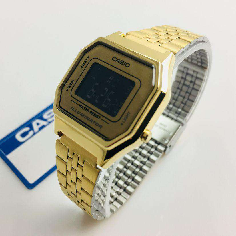 Casio Vintage LA680WGA-9B Gold Plated Watch For Women