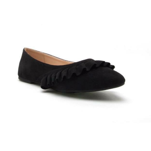 FINAL SALE Black Ruffle Suede Flats