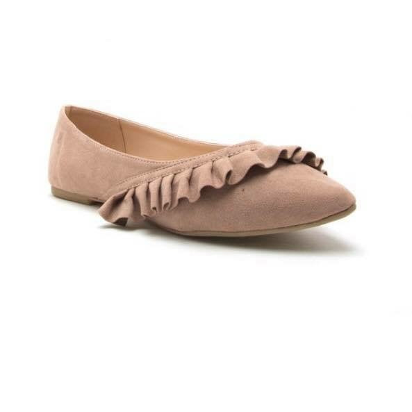 FINAL SALE Taupe Ruffle Suede Flats