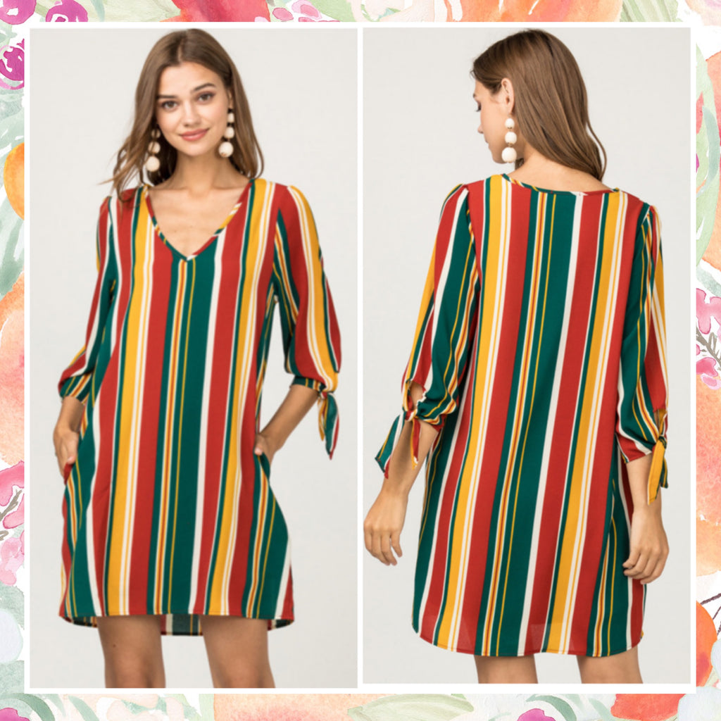 Rust Multi Striped Dress KNOX
