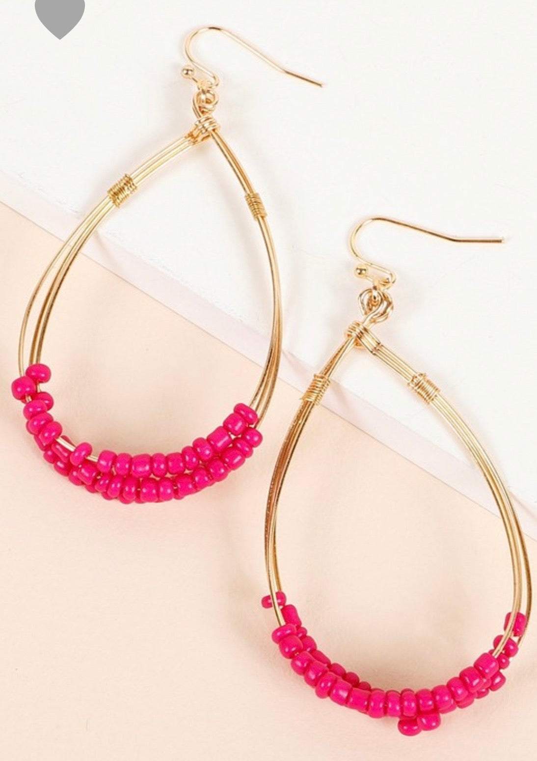 Fuchsia Beaded Gold Earrings