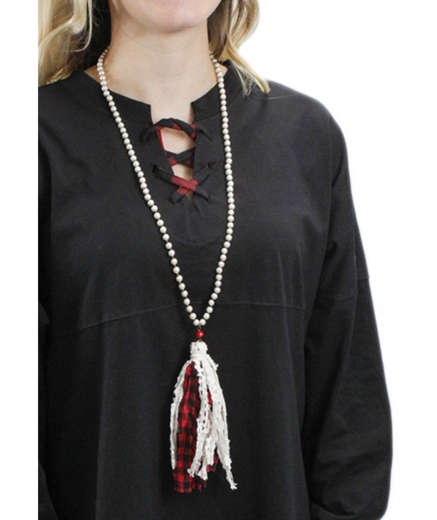 Pearl Plaid Tassel Necklace ASHE