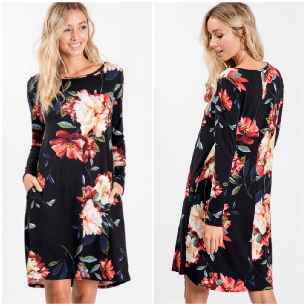 Black Floral Pocket Dress ASHE