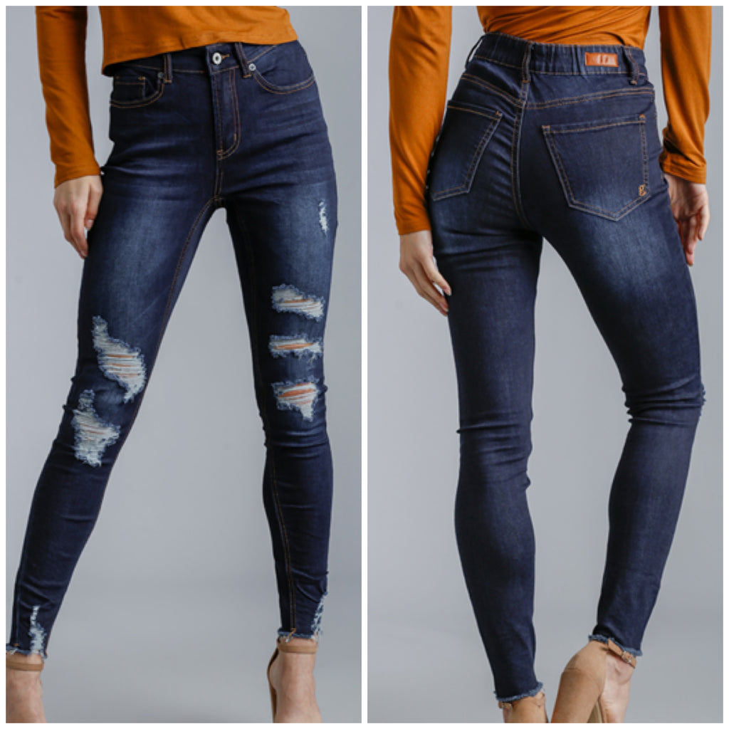 Umgee High Rise Distressed Skinny Jeans