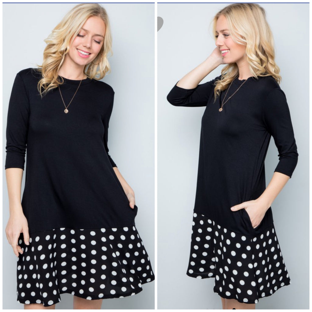 Black Polka Dot Ruffle Bottom Pocket Dress ASHE