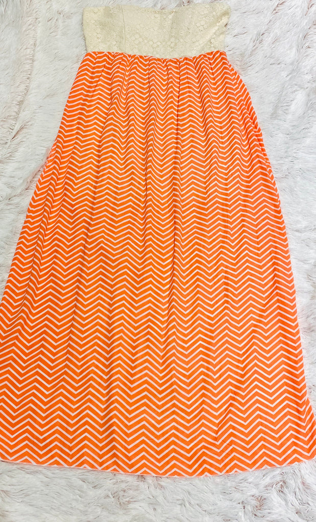 FINAL SALE Orange & Lace Chevron Maxi Dress