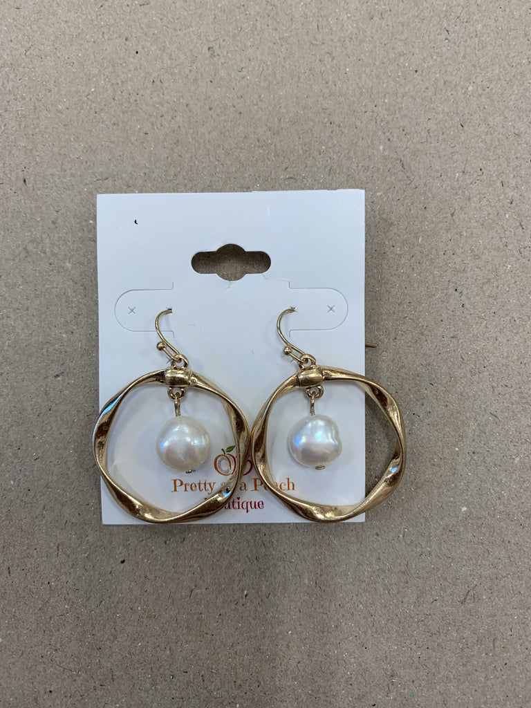 Twisted gold hoop and pearl earring ASHE