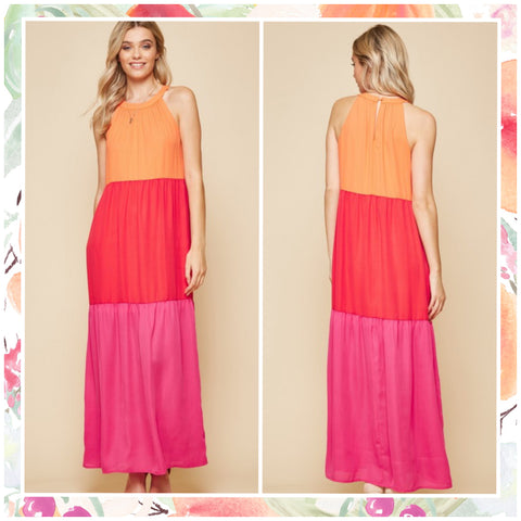 FINALSALE Multi Color Block Maxi Dress