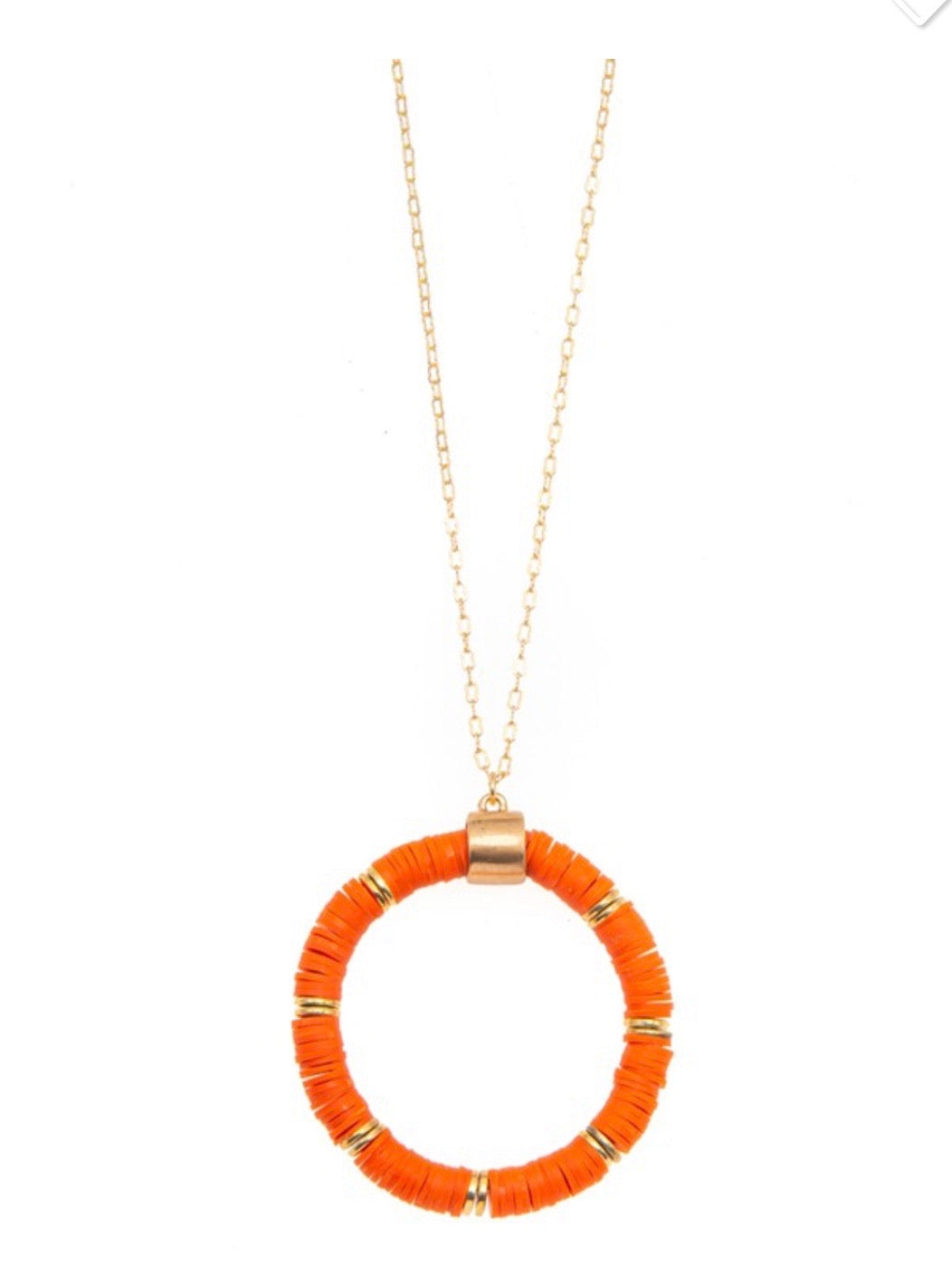 Orange Disc Beaded Necklace