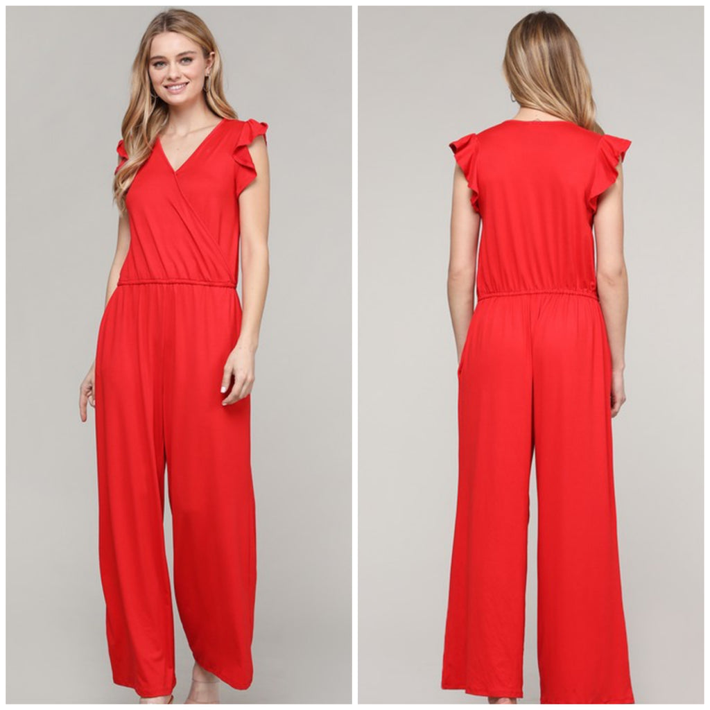 FINAL SALE Red Ruffle Sleeve Jumpsuit