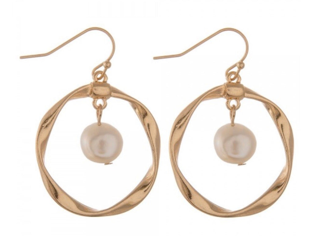 Gold Twisted Pearl Drop Earrings ASHE