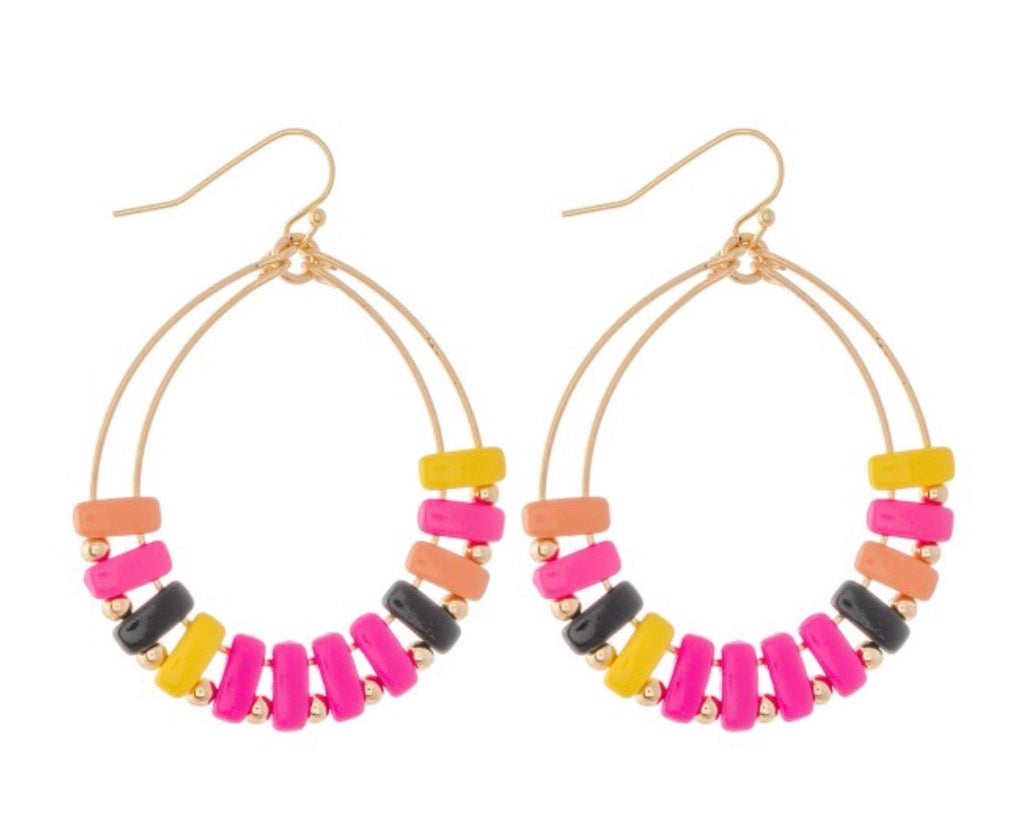 Pink Multi Color Block Earrings