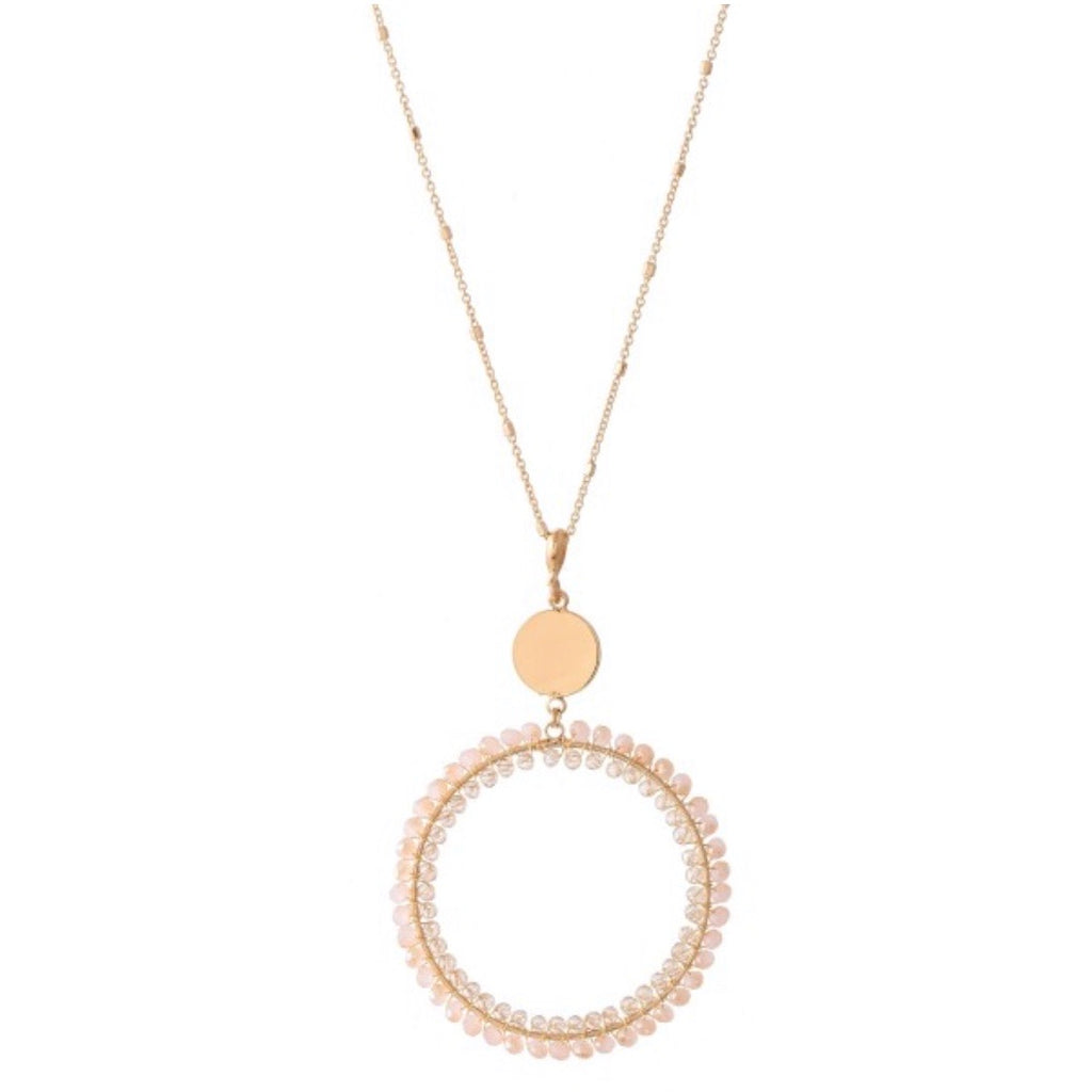 Blush Beaded Gold Circular Necklace ASHE