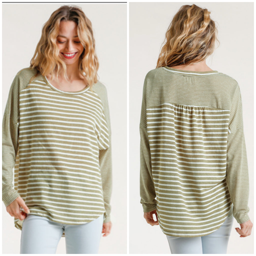 Umgee Olive Striped Top ASHE