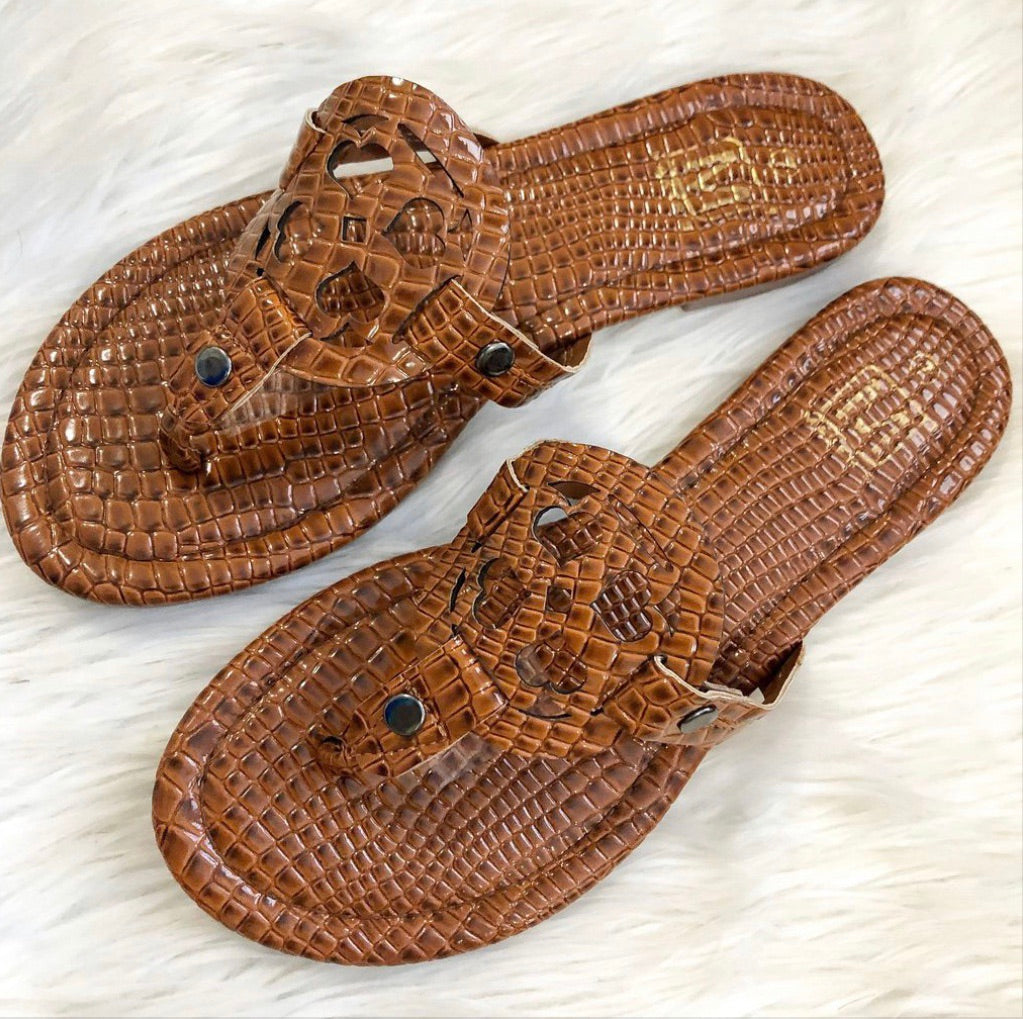 FINAL SALE Tan Croc Sandal