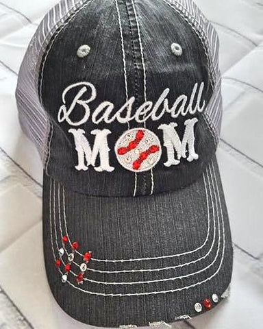 abdc09d121365 ... Distressed Baseball Mom Trucker Hat with Bling ...