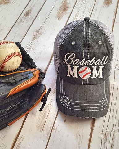 38fdcf6abb4cf Distressed Baseball Mom Trucker Hat