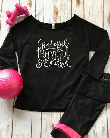 9a58322e243 Grateful Thankful   Blessed 3 4 Sleeve Off-the-Shoulder Lightweight  Sweatshirt