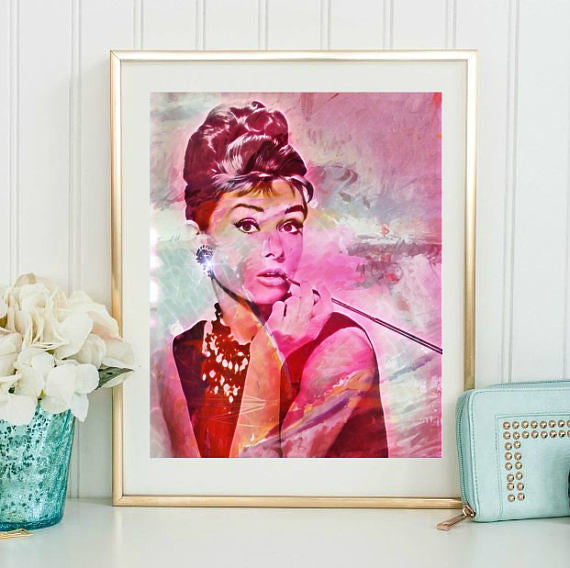 Aubrey Hepburn Wall Art Canvas Artwork Poster