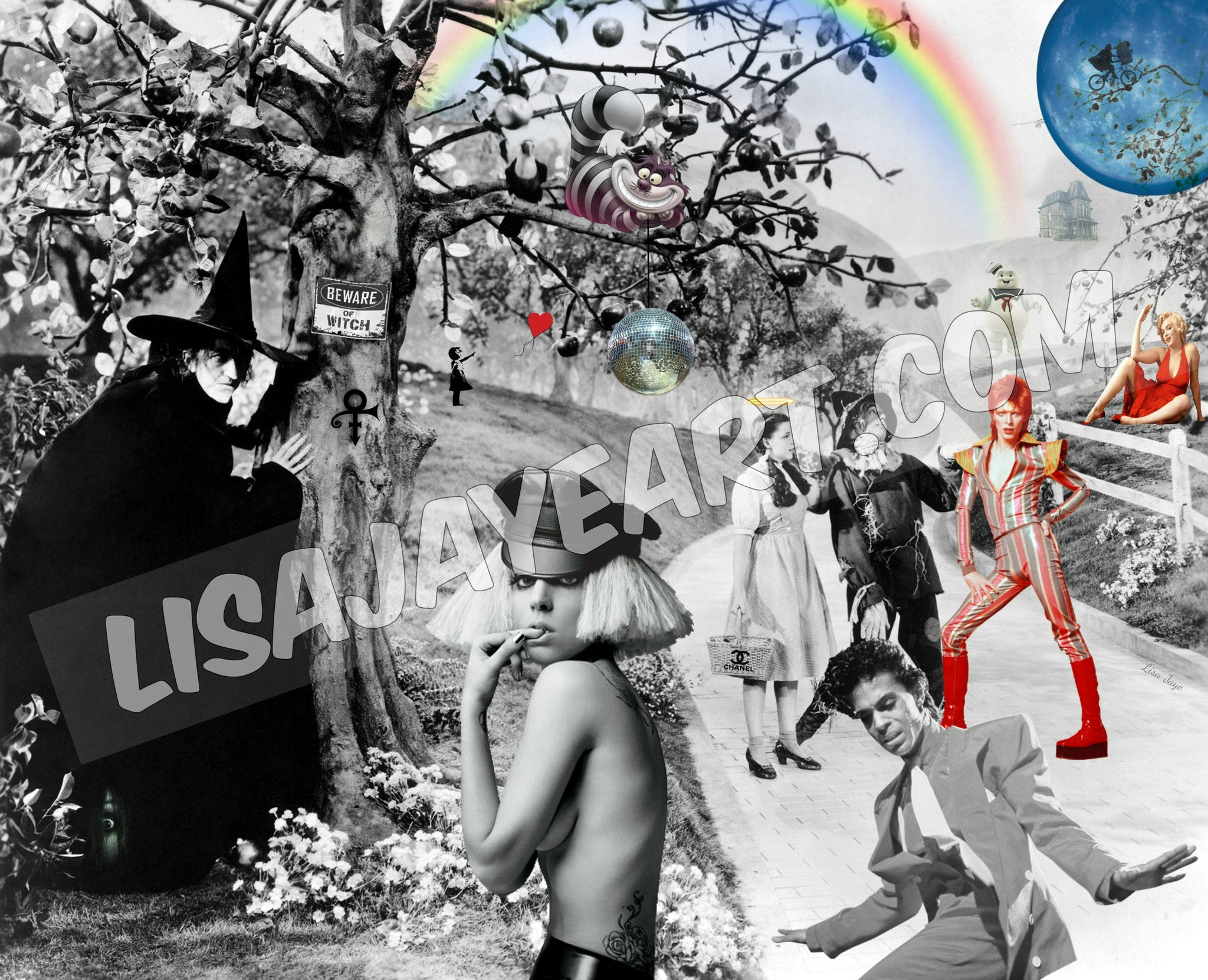 Pop Culture Wizard of Oz, Lady Gaga, Prince, David Bowie, Wall Art