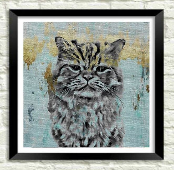 Custom Pet Art - Gold & Teal Style