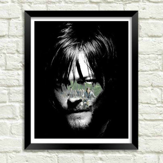 TWD The Walking Dead Daryl Dixon Motorcycle Wall Art Artwork Poster
