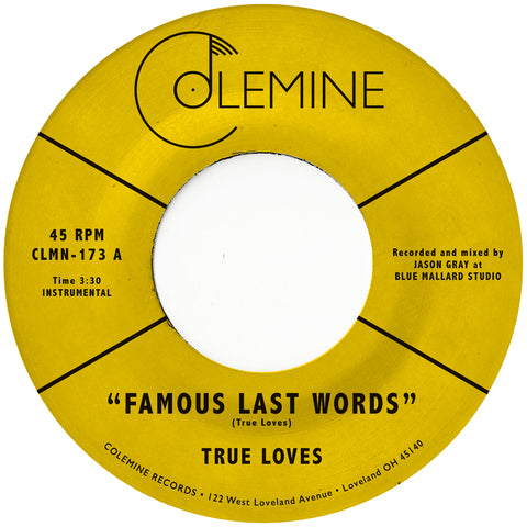 "<b>TRUE LOVES</b><br><i>Famous Last Words</i><br><span style=""color: #ff0000;"">Release Date: 5/31/19</span>"