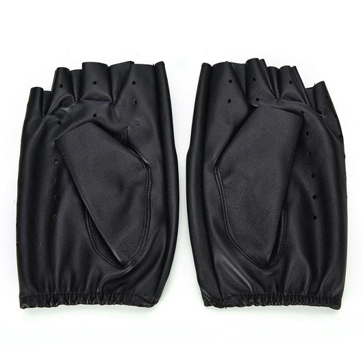 Blackened Leather Fingerless Gloves