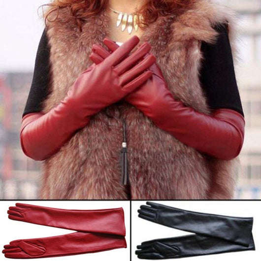 Enticing Long Leather Gloves