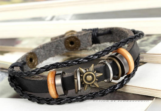 Sunsoaked Black Leather Bracelet