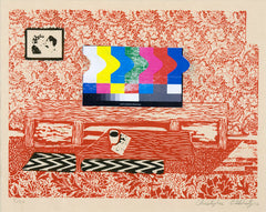 Red Room, a woodcut by Christopher O'Flaherty