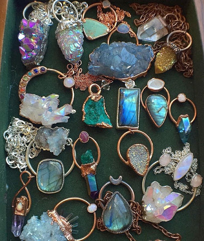 Blue and White Unique Handmade Crystal Pendants