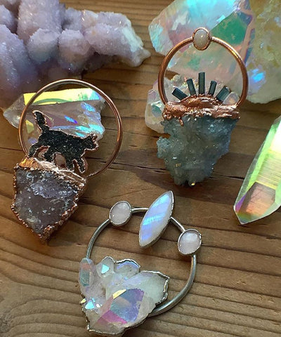 Cat and Opal Crystal Unique Handmade Pendants